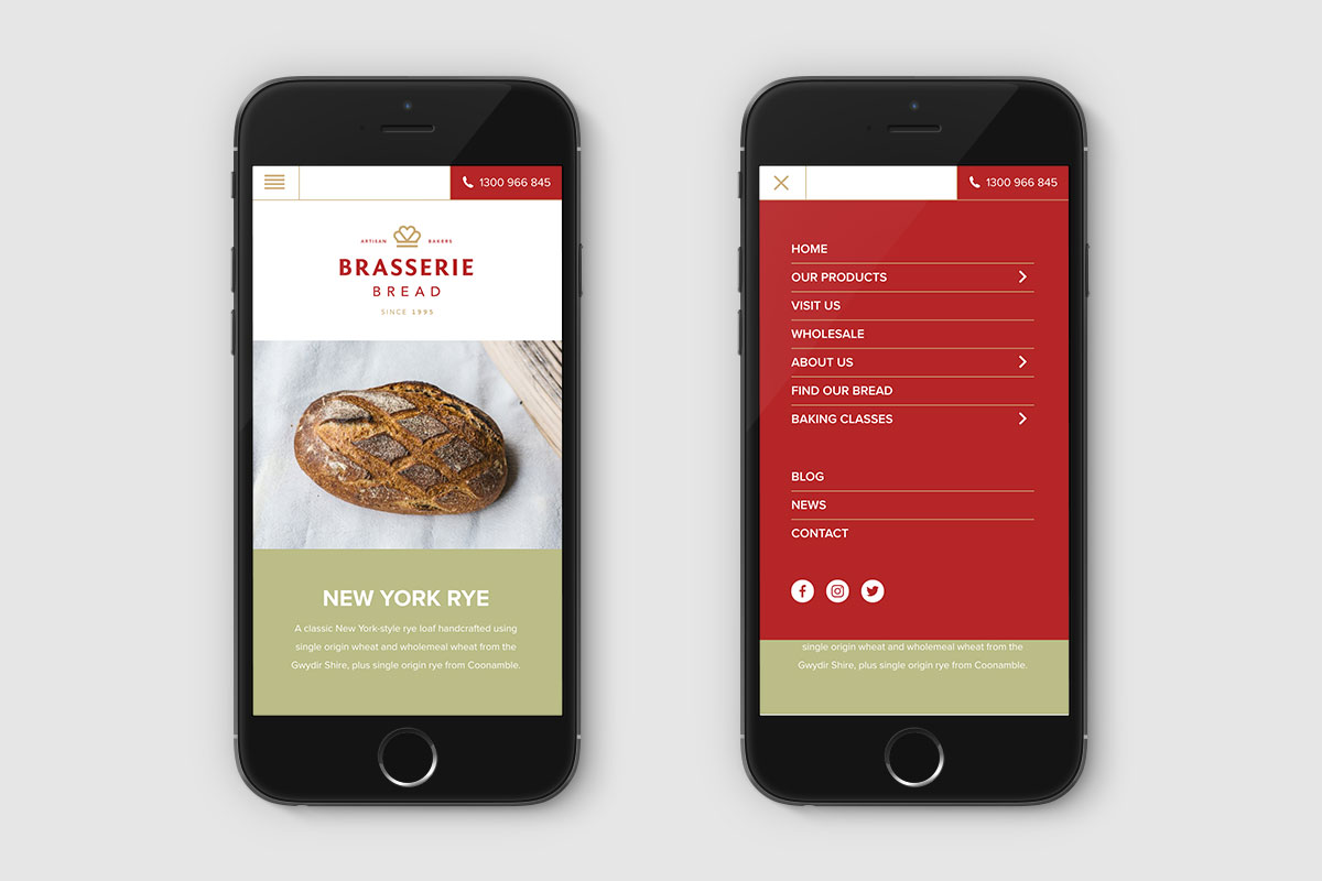 Brasserie Bread mobile UI design