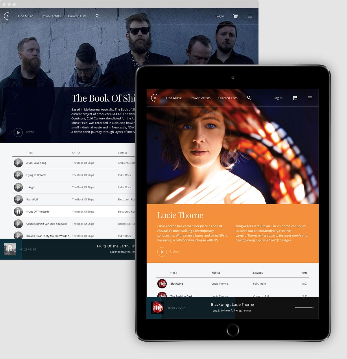 OpenSea Music platform custom mobile app UX / UI design Melbourne